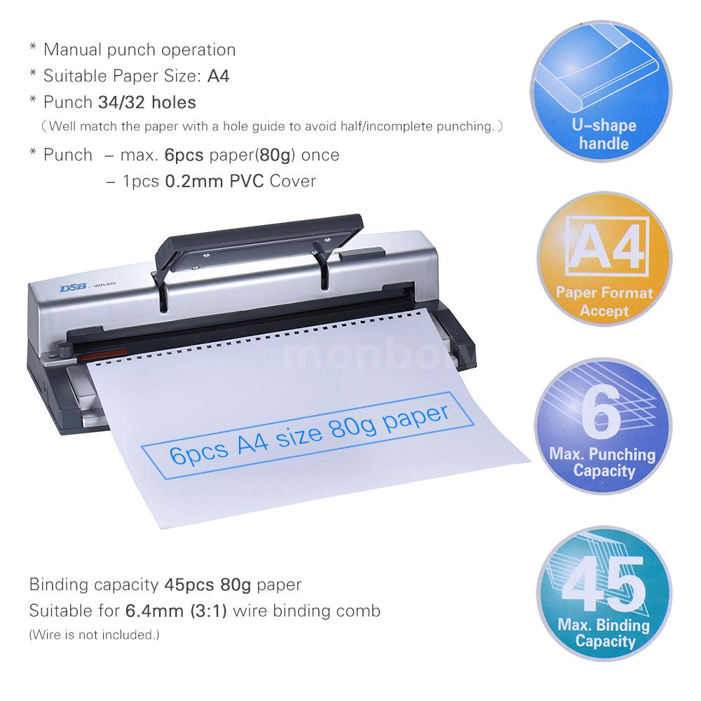 A4 Paper Notebook Puncher Binder Punching Machine 6.4mm